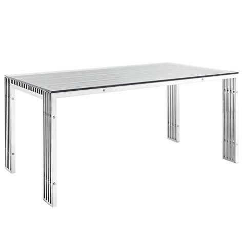 stainless steel glass top dining table gridiron modernistic stainless steel dining table with