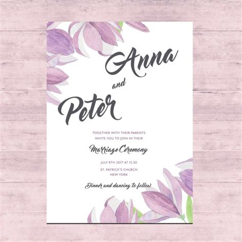 layout of a wedding card floral wedding card design vector free download