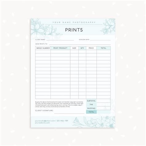 Floral Photography Prints Order Form Strawberry Kit Printing Order Form Template