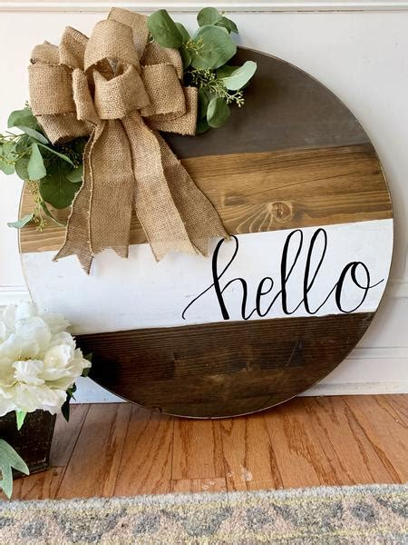 door sign  rustic peach