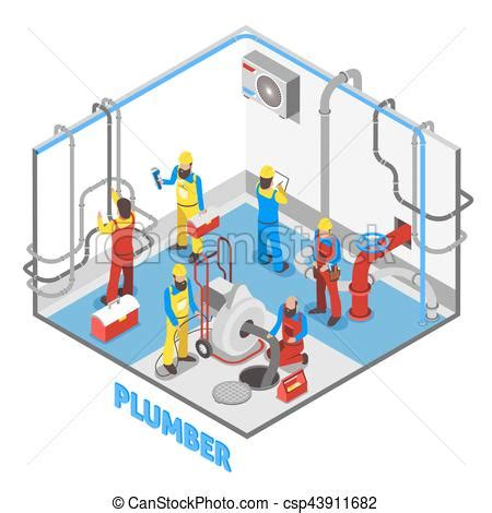 plumber isometric people composition. 3d layout of plumber