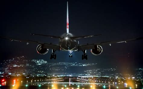 airport airplane lights landing technology osaka