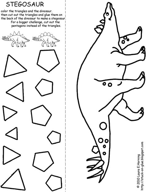Dinosaur Craft Printable give your octopus a paintbrush or 8 stegosaur cut and