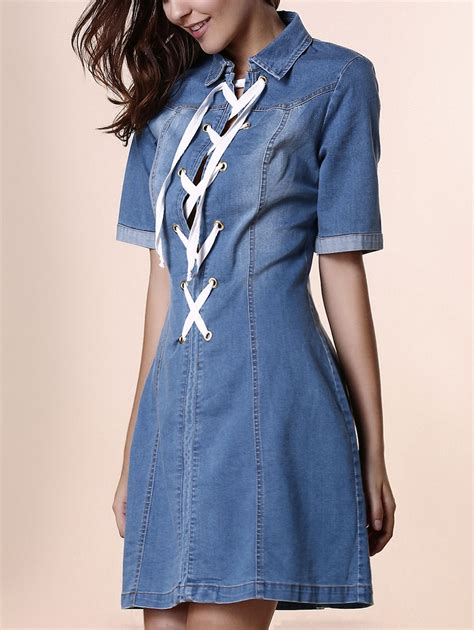 Blue Denim Fifth Sleeve S M L Dress 31589 stylish shirt collar sleeve lace up denim s dress blue m in dresses dresslily