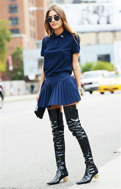 how to style the knee boots with skirt womenitems