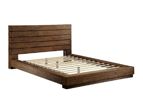 Wood Plank Headboard Low Profile Bed With Plank Panel Headboard Fa23 Transitional
