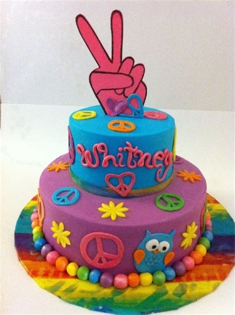 Peace Sign/tie Dye Cake   CakeCentral.com