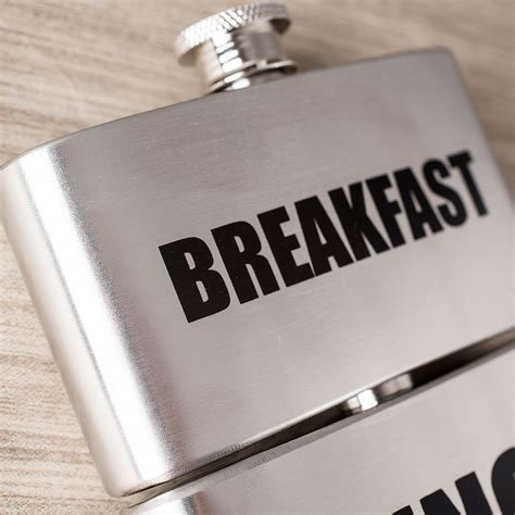 Breakfast, Lunch, Dinner   Triple Hip Flask