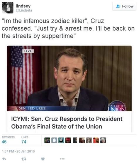 Ted Cruz Memes - lindzeta tweet ted cruz zodiac killer know your meme
