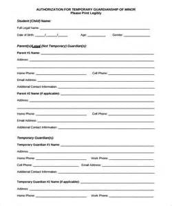 free guardianship template sle temporary guardianship form 9 documents