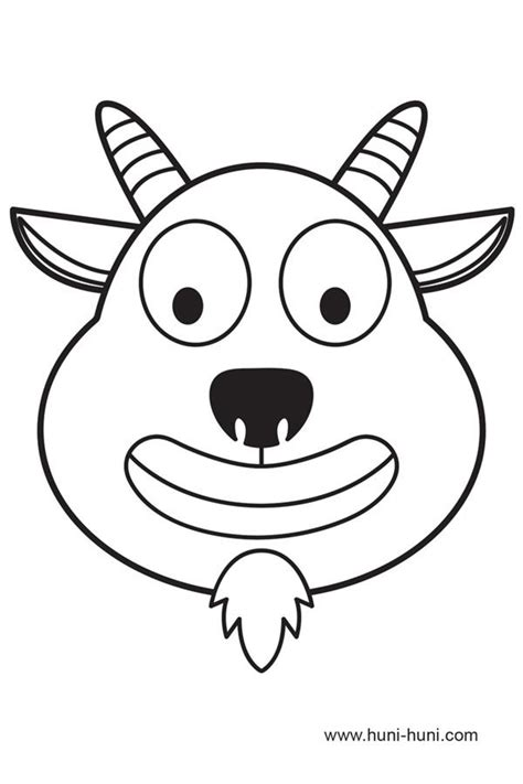 goat mask coloring page animal masks clipart 75
