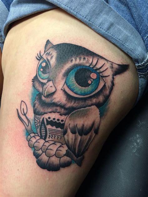 owl tattoo with green eyes owl tattoo big blue eyes tattoos pinterest