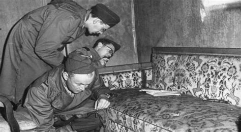 hitler biography death photos show the sofa where adolf hitler and eva braun died