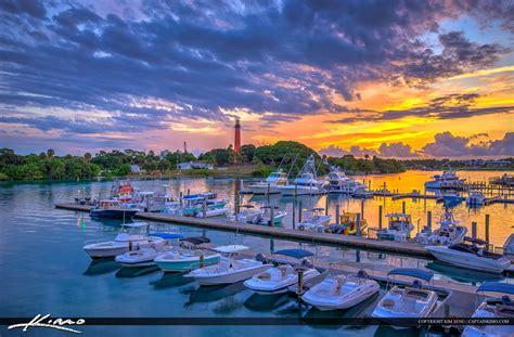 public boat rs jupiter fl jupiter inlet lighthouse sunrise at marina waterway