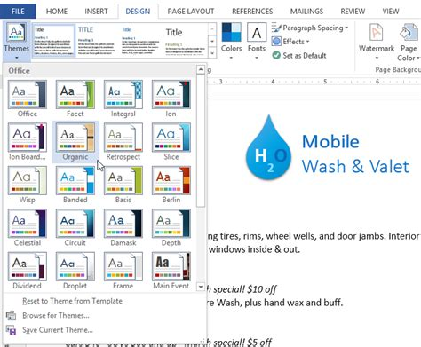 .word 2013 themes full page
