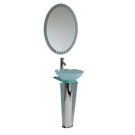glass bathroom stand fresca vitale vessel sink in turquoise glass with stand in