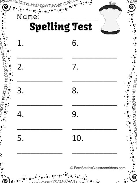 common worksheets 187 spelling test sheet preschool and