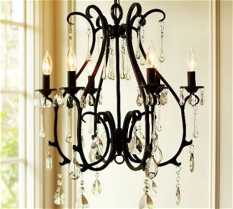 pottery barn celeste crystal chandelier 6 arm black finish