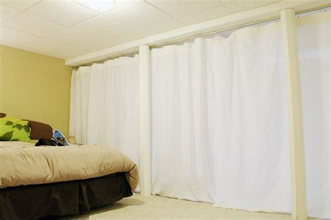 room divider curtain curtain track system used as a room divider in our basement kataydee