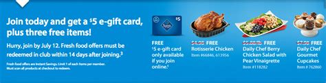 Grocery E Gift Cards - sam s club membership offer free egift card 20 in free food