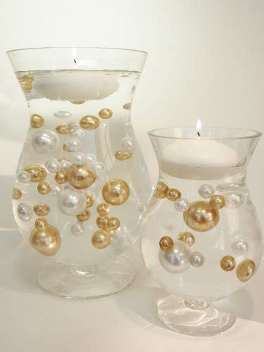 Water Pearls For Vases by Unique Jumbo Assorted Sizes 80 Pieces Gold And White