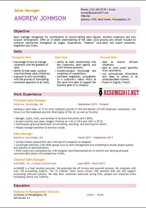 Sales Resume Templates by Sales Manager Resume Template 2017