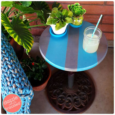 Diy Patio Umbrella Stand Diy Umbrella Stand Into An Easy Patio Side Table