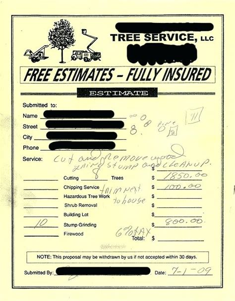 Tree Removal Receipt Template by Tree Service Invoice Free No Obligation Quotes Tree