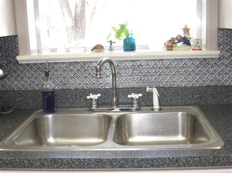 Kitchen Sinks With Backsplash Minimalist Kitchen Ideas With Silver Tin Tile Backsplash Panel Stainless Steel Bowls