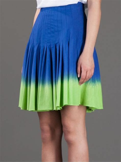 moschino cheap chic tie dye pleated skirt in blue lyst