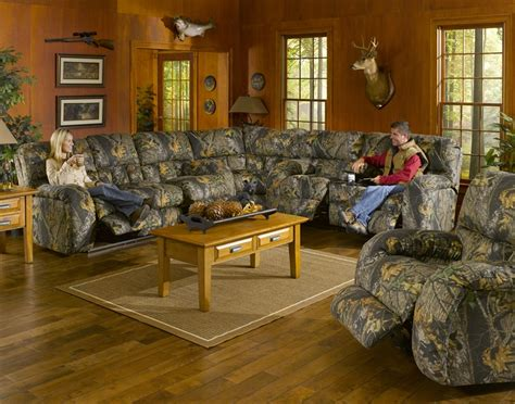 Camo Sectional Sofa by Lodge 3 Manual Recline Sectional In Camouflage Cover