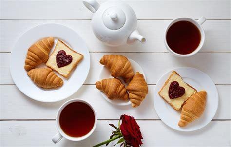 coffee breakfast wallpaper wallpaper cup croissant hearts coffee romantic coffee