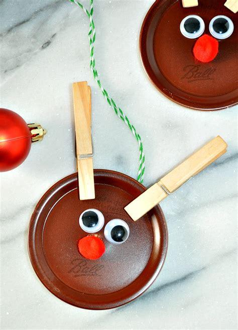 homemade ornaments homemade christmas ornaments mason jar lid reindeer the