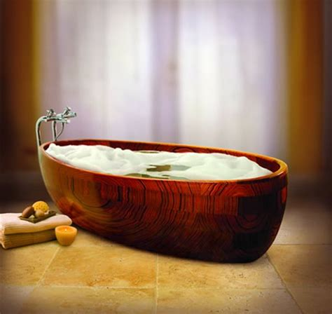 Adagio Sustainable Umbila Wood Tub by 8 Sublime Bathtub Designs For Your Bathroom