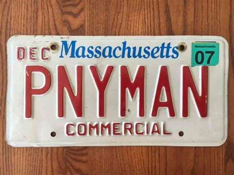 massachusetts official vanity license plate pnyman pony