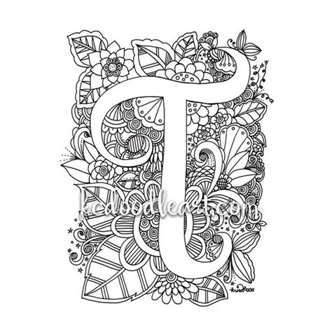 Letter T Coloring Pages For Adults by Instant Digital Coloring Page Letter T