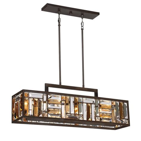 Bronze Island Light Fixtures Shop Quoizel Crossing 8 25 In W 4 Light Bronze Kitchen Island Light With Tinted Shade At Lowes