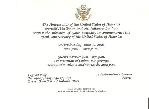 Invitation Letter Ambassador Sle Maughans In Africa Mid July 2010