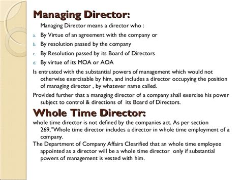 appointment letter as managing director appointment of directors