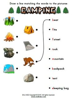 camping activities, games, and worksheets for kids