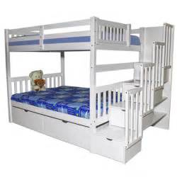 Home bunk beds bellagio stairway full over full bunk bed white