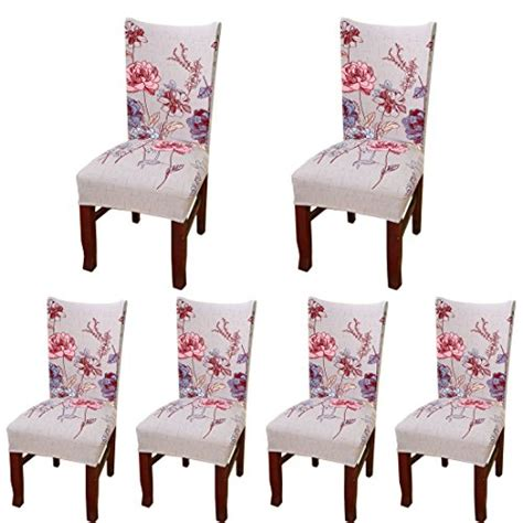 6 Pcs Dining Chair Cover Strtch Chair Slipcover Print Dining Room Chair Protective Covers