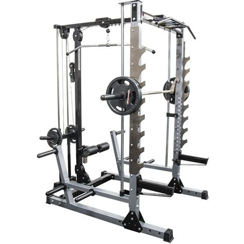 sa gear weight bench barbarian line smith machine with plate load lat attachment