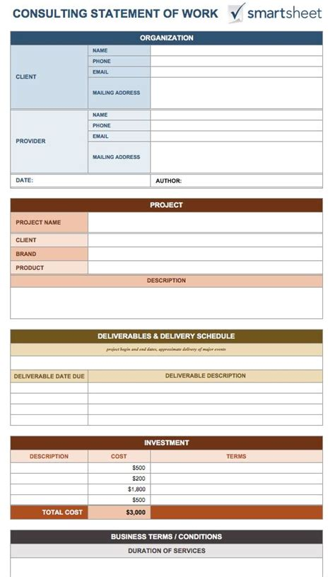 statement of work template consulting free statement of work templates smartsheet