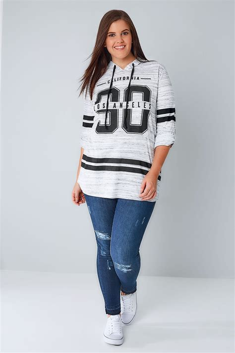 Hooded Sweatshirt With Slogan white black varsity slogan print hooded sweatshirt plus size 16 to 36