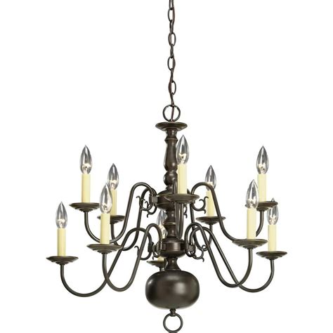 Chandelier Home Depot by Progress Lighting Americana Collection Antique Bronze 10 Light Chandelier The Home Depot Canada