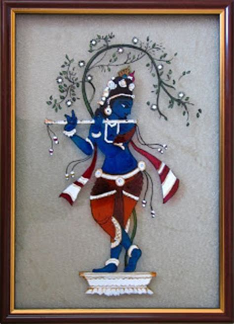 Glass Painting Krishna Outline by Color And Brush Glass Paintings