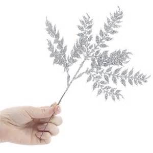 silver glitter fern floral picks picks and stems
