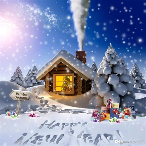 Cabins For New Year by 2017 5x7ft Vinyl Digital White Snow Tree Cabin