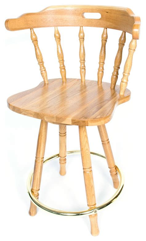 Solid Oak Back Swivel Bar Stool 24 Inches High by Solid Medium Oak Back Swivel 24 Inch Barstool